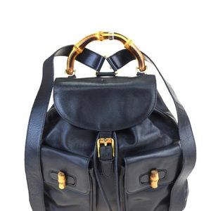 GUCCI BLUE Bamboo Sac Leather Back Pack